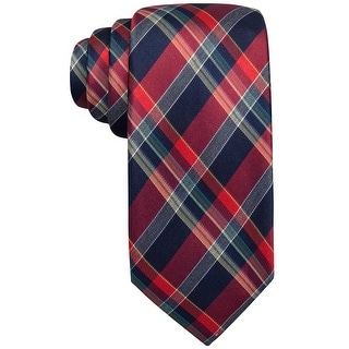 Countess Rio Plaid Classic Silk Tie Necktie Red and Navy Blue