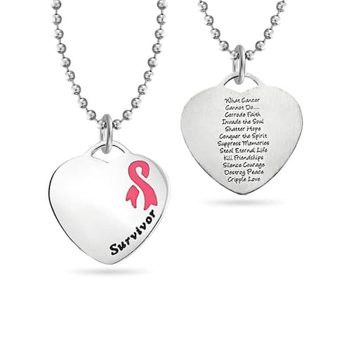 Heart Pink Breast Cancer Survivor Pendant Stainless Steel Necklace - 18