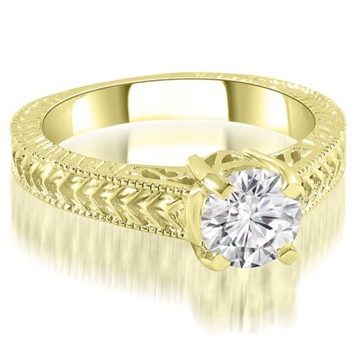1.00 cttw. 14K Yellow Gold Antique Style Solitaire Diamond Engagement Ring