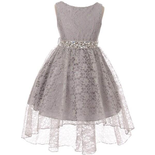 7c57de4de5c Shop BNY Corner Flower Girl Dress Lace Hi-Low with Rhinestone Belt ...