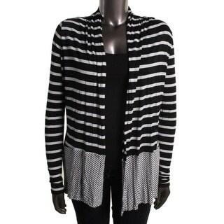 Three Dots Womens L1875206 Jersey Striped Cardigan Top