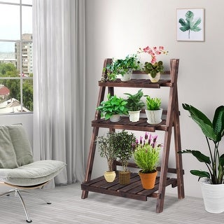 Link to Costway 3 Tier Outdoor Wood Design Flower Pot Shelf Stand Folding Similar Items in Stands