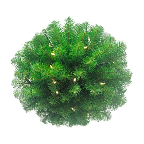 """16"""" Pre-lit Battery-Operated Classic Pine Artificial Christmas Kissing Ball - Warm Clear LED Lights"""