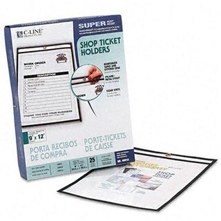 C-Line Shop Ticket Holders 9 x 12 Clear Front and Back with Black
