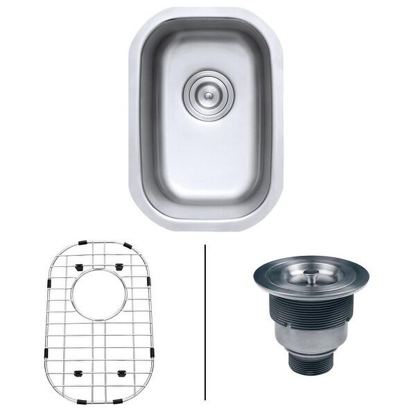 "Ruvati RVM4111 Parmi 12-1/2"" Undermount Single Basin 16 Gauge Stainless Steel Kitchen Sink with Basin Rack and Basket Strainer"