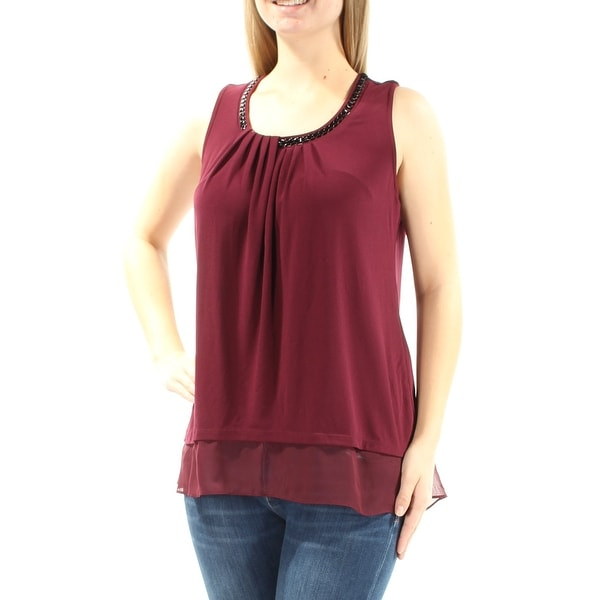 5506862c7a5ea Shop ALFANI Womens Maroon Beaded Sleeveless Scoop Neck Top Size  M - Free  Shipping On Orders Over  45 - Overstock - 21391457