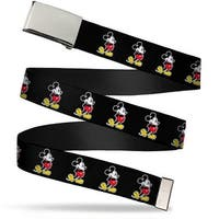 Blank Chrome  Buckle Classic Mickey Mouse Pose Black Webbing Web Belt