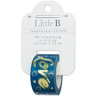 Little B Decorative Foil Tape 25mmX10m-Gold Foil Blue Love