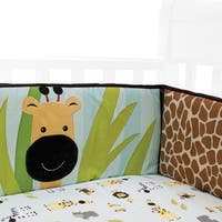 Lambs & Ivy Peek A Boo Jungle Blue/Brown Safari Animal 4-Piece Baby Crib Bumper