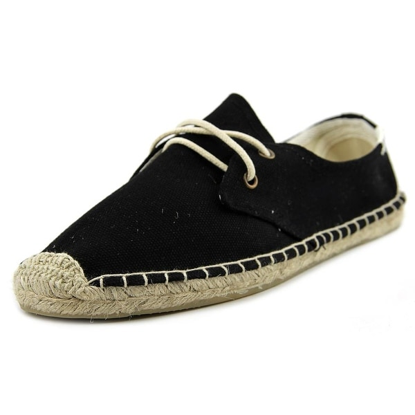 Soludos Lace Up Women  Round Toe Canvas Black Espadrille
