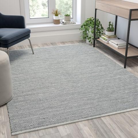 Handwoven Diamond Motif Indoor Area Rug Micro Polyester