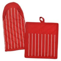 """13"""" Tango Red and White Striped Design Unisex Kitchen Set with Hook"""