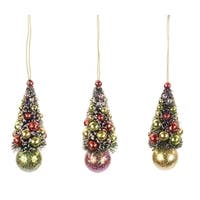 "Set of 12 Red, Green and Yellow Glittered Frosted Mini Christmas Tree Ornaments 4"" - multi"