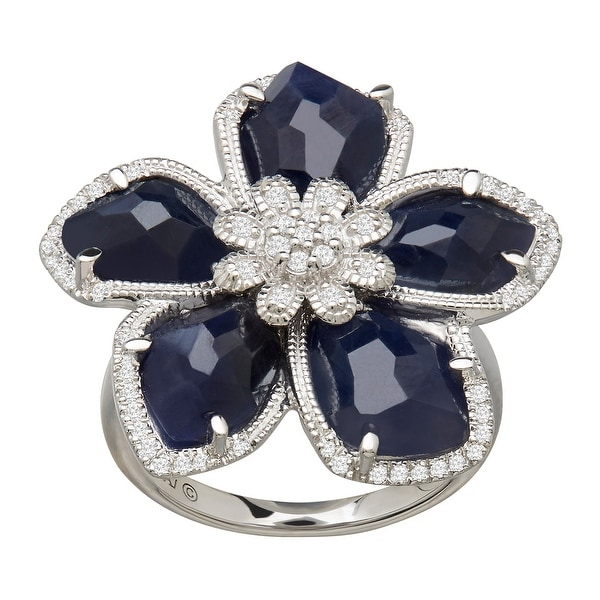 8 ct Natural Sapphire & 1/4 ct Diamond Flower Ring in Sterling Silver - Blue