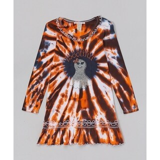 Multicolor Halloween Long Sleeve BOO-tiful Ruffle Dress Little Girl 5/6 - 6x