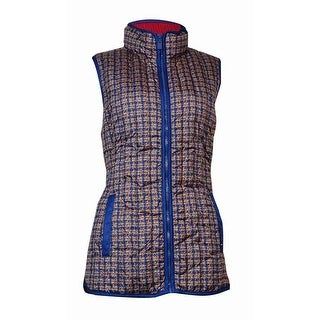 Tommy Hilfiger Women's Printed Duck-Down Puffer Vest (M, Blue Depths) - m