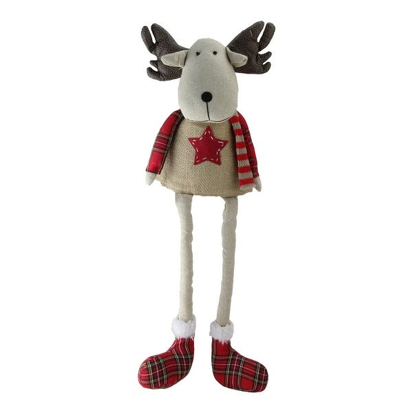 """14.75"""" Plaid Decorative Elk Sitting with Dangling Legs Tabletop Decoration"""