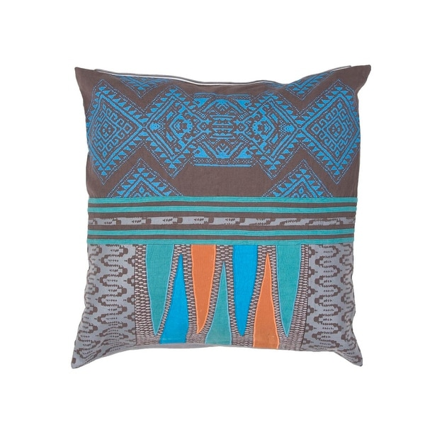 "22"" TImber Brown, Sunrise Blue and Ash Gray Tribal Pattern Decorative Throw Pillow"