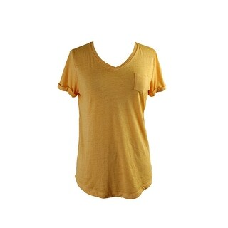 Style & Co. Honey Glaze Short-Sleeve V-Neck Burnout Pocket Tee L