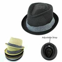 af3b9649fa458 Straw Fedora Hat Trilby Cuban Cap Summer Beach Panama Short Brim Men Women