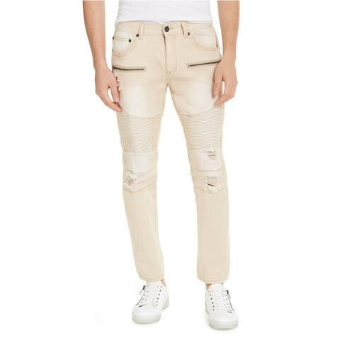 INC International Concepts Men's Ripped Moto Skinny Jeans Beige S 32