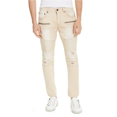 INC International Concepts Men's Ripped Moto Skinny Jeans Beige S 34