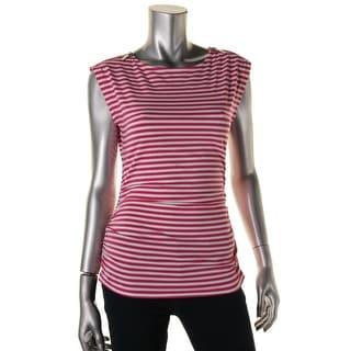 MICHAEL Michael Kors Womens Petites Sleeveless Striped Pullover Top