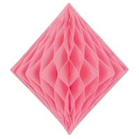 Club Pack of 12 Honeycomb Pastel Pink Diamond Hanging Decorations 12.5""