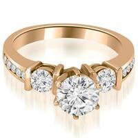 1.35 cttw. 14K Rose Gold Bar Set Round Cut Diamond Engagement Ring