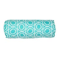 "20"" Turquoise Blue and Ivory Geometric Pattern Decorative Throw Pillow"