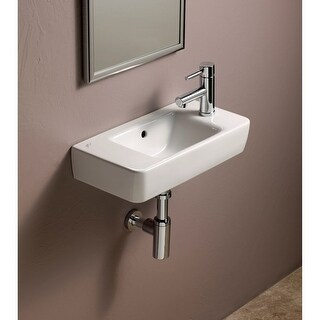 "Bissonnet 276150 Elements Comprimo 19-7/10"" Wall Mounted Center Drain Bathroom Sink with 1 Hole Drilled and Overflow"