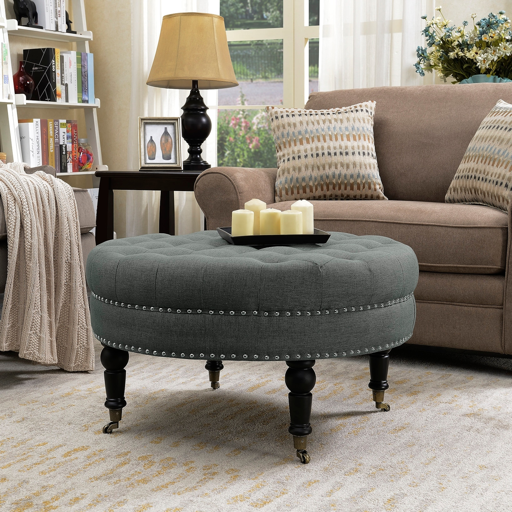 Belleze 33 Inch Round Tufted Linen Ottoman Large Footstool Tail With Caster Gray Beige
