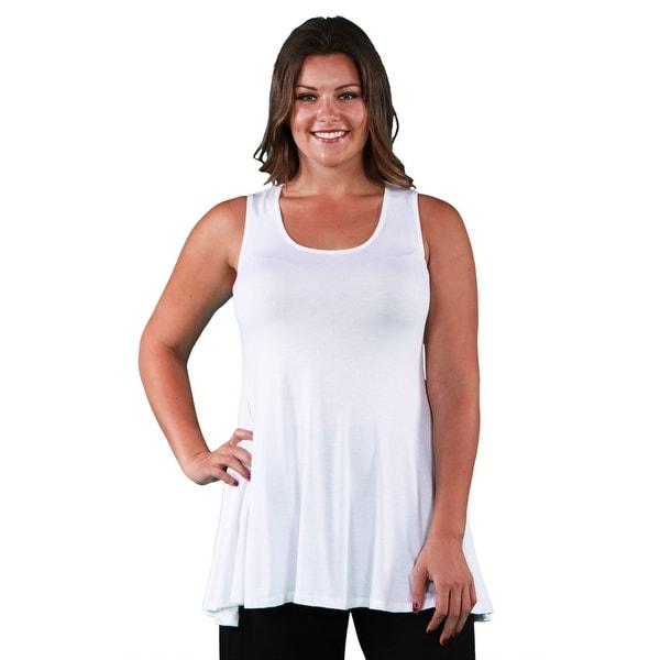 24seven Comfort Apparel Plus Size Sleeveless Tunic Tank Top