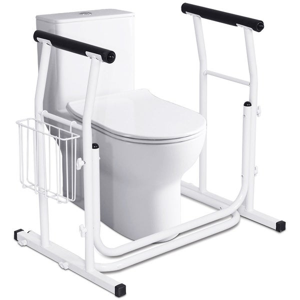 Costway Medical Freestanding Stand Alone Toilet Safety Rail Padded Armrest Comfort White