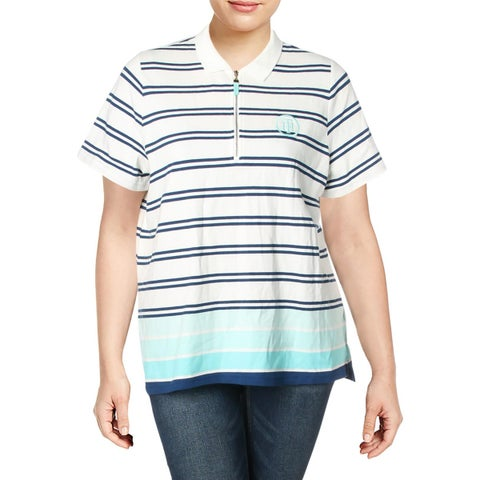 Tommy Hilfiger Womens Plus Polo Top Striped Zip Front