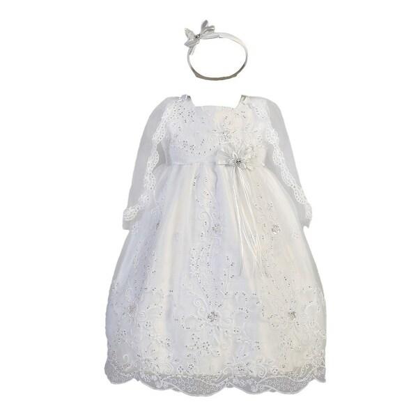 Baby Girls White Organza Sequined Cape Headband Christening Dress