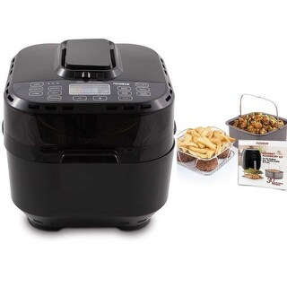 NuWave Brio Digital Air Fryer (10 qt, Black) with 2-piece Cooking Set (3 qt)