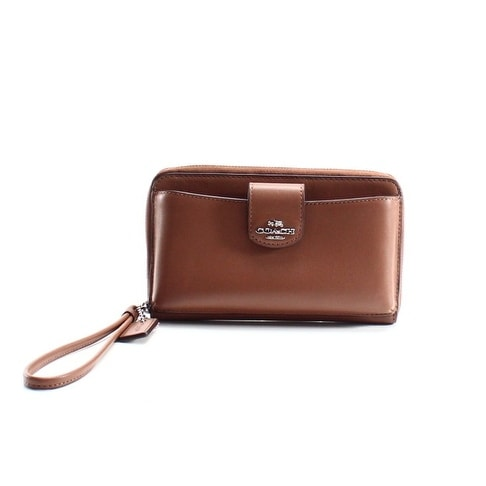 Coach NEW Brown Leather Boxed Universal Saddle Phone Wristlet Wallet
