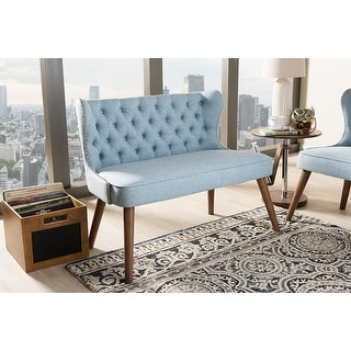 Baxton Studio Scarlett Mid-Century Brown/Blue Fabric Upholstered Button-Tufting with Nail Heads Trim 2-Seater Loveseat Settee