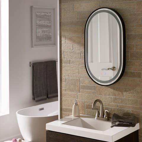 Rion Black Frame Touch LED Anti-Fog Vanity Mirror by iNSPIRE Q Modern