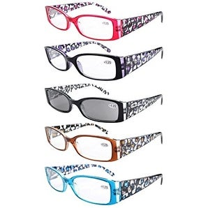 Eyekepper 5-Pack Spring Hinge Floral Arms Reading Glasses Includes Sunglass Readers +2.5