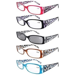 Eyekepper 5-Pack Spring Hinge Floral Arms Reading Glasses Includes Sunglass Readers +4.0 - +4.00