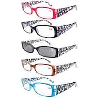 Eyekepper 5-Pack Spring Hinge Floral Arms Reading Glasses Includes Sunglass Readers +4.0