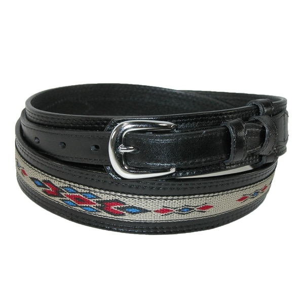 CTM® Men's Leather Removable Buckle Ranger Belt with Fabric Inlay