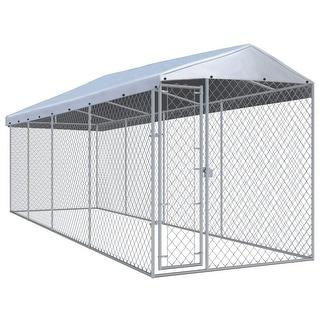 Link to vidaXL 25-foot Outdoor Steel Dog Kennel with Roof Similar Items in Dog Containment
