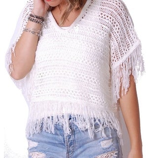 Cupcakes and Cashmere NEW White Women's Small S Fringed Poncho Sweater