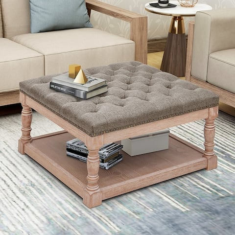 """Maypex 30"""" Shelved Tufted Square Cocktail Ottoman"""