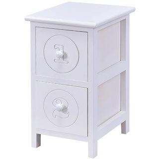 Costway White Wooden Bedside Table Nightstand Cabinet Furniture Storage  Drawers