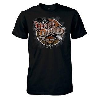 Harley-Davidson Men's Flying Old School Short Sleeve Crew T-Shirt, Black (Option: 3xlt)
