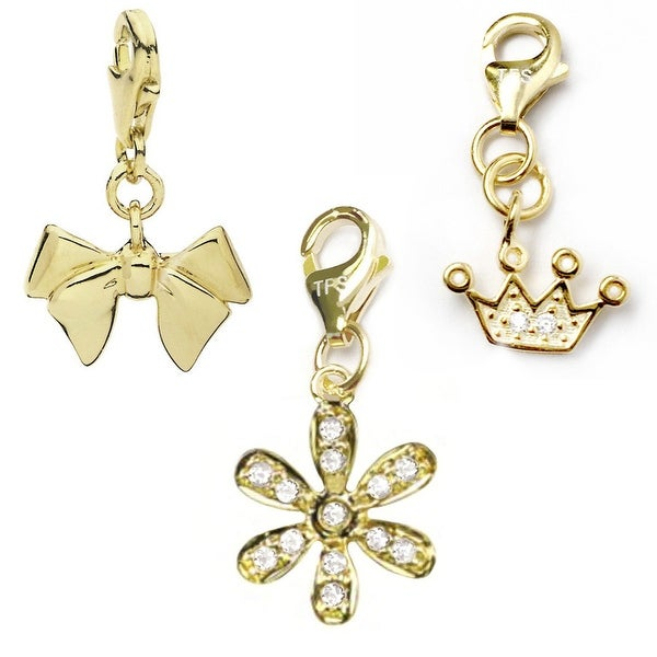 Julieta Jewelry Flower, Bow, Crown 14k Gold Over Sterling Silver Clip-On Charm Set